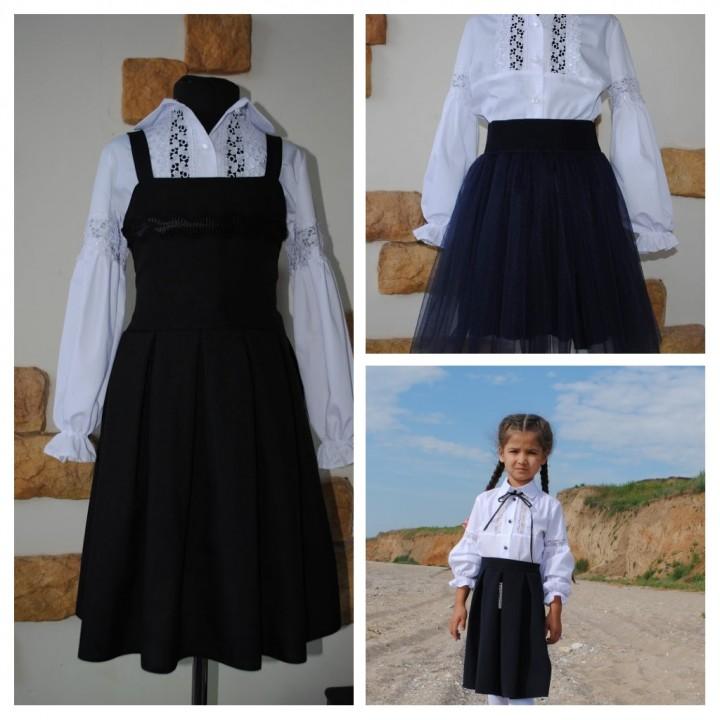Школьная форма для девочек. Стильная школьная блуза КРУЖЕВО. Р-ры 116, 122, 128, 134, 140 см, модель полномерная