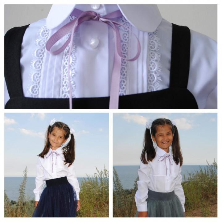 Школьная форма для девочек, школьная блуза Классика длинный рукав, цвет БЕЛЫЙ, размеры 116, 122, 128, 134, 140, 146