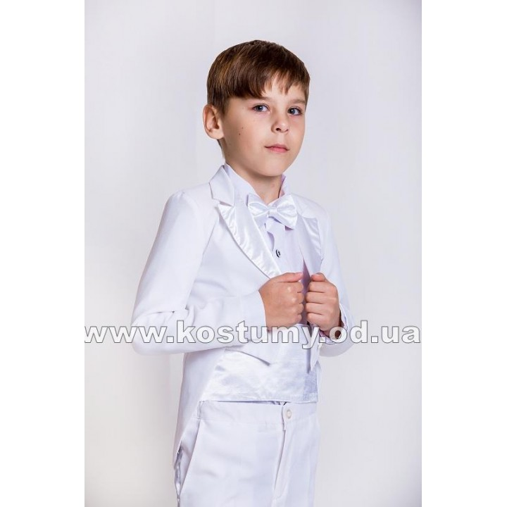 Фрачный костюм, цвет белый, детский костюм на выпускной,  рост 122-128 см, 134-140 см