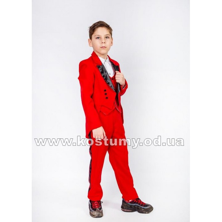 Фрачный костюм красный с черным, рост 110-116, 116-122, 134-140 см
