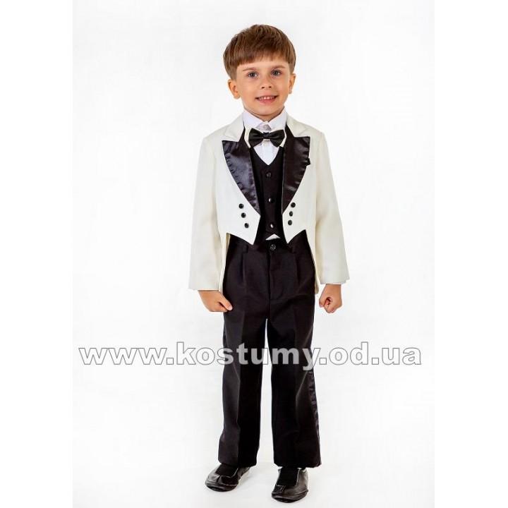 Фрачный костюм молочно-черный, фрак, костюм фрачный, рост 110, 116, 122 см