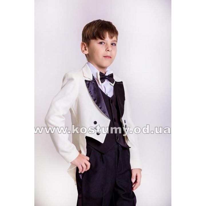 Фрачный костюм молочно-черный, фрак, костюм фрачный, рост 128, 134, 140 см