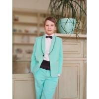 Смокинг Luxury бирюзовый, выпускной костюм в сад, костюм на выпускной в сад, 118-125 см