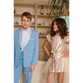 Смокинг Luxury голубой, выпускной костюм в сад, костюм на выпускной в сад, 118-125 см