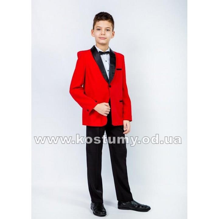 Смокинг, цвет красный с черным, костюм на выпускной в 4 класс, смокинг для подростков