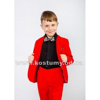 Выпускной костюм в сад, красная тройка, стильный костюм для мальчиков, костюм стиляги