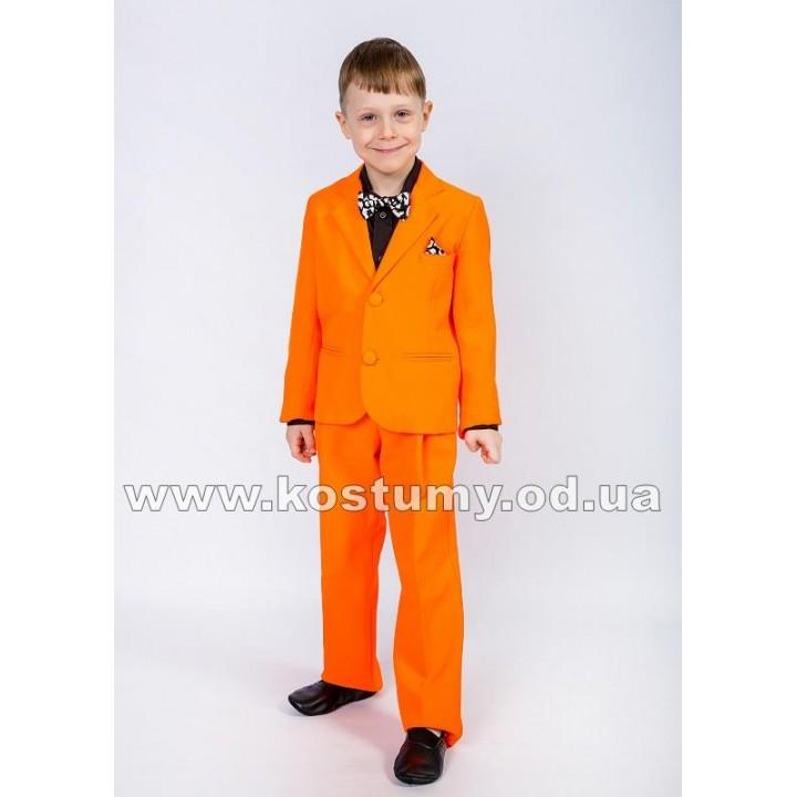 Костюм тройка оранжевый с черной рубашкой, Стиляга, костюм Стиляги, выпускной костюм в сад