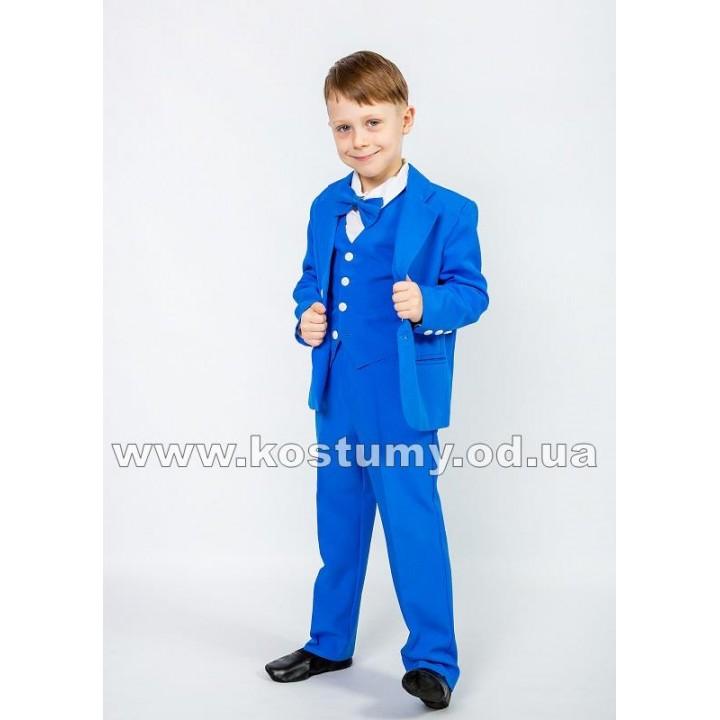 Выпускной костюм в сад, костюм тройка, цвет васильковый
