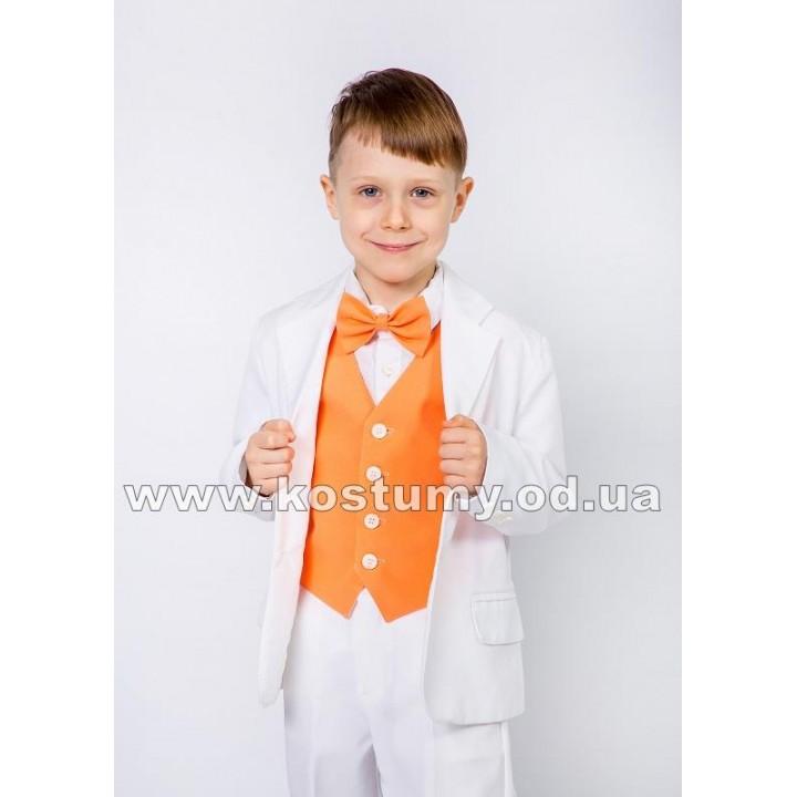 Костюм на выпускной в сад, костюм тройка бело-оранжевый, рост 116-122 и 122-128 см