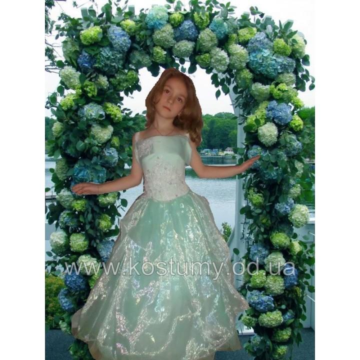 Платье бальное, платье выпускное ИНГРИД, платье новогоднее, цвет ментол, рост от 115 см