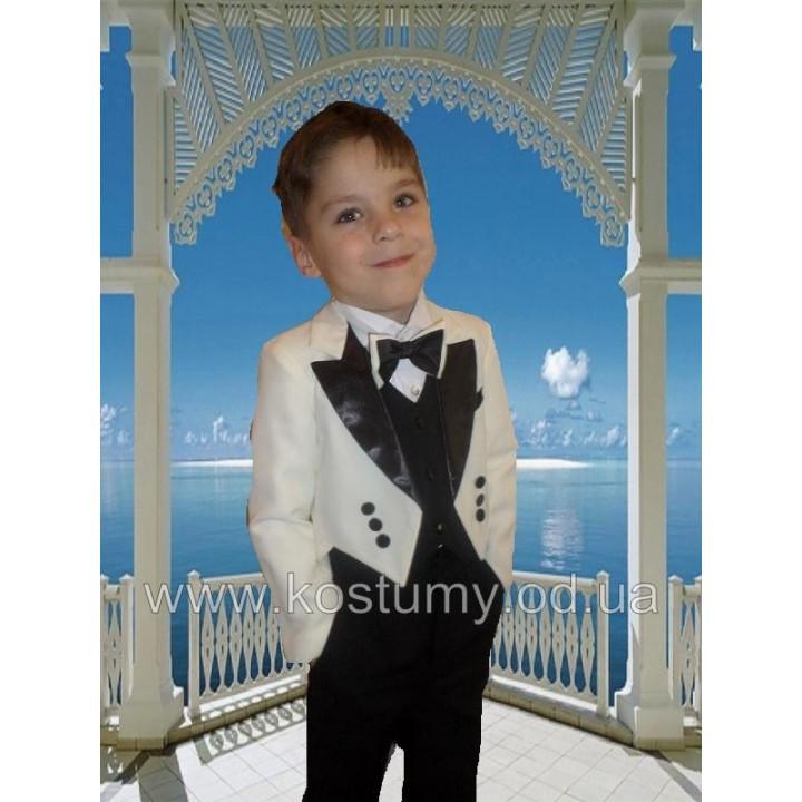 Фрачный костюм, цвет молочный с черным,  рост 110, 116 см