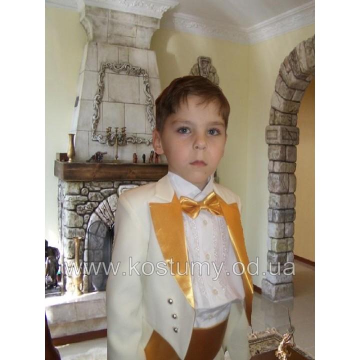 Фрачный костюм, цвет молочный с золотом, рост 116-122, 122-128 см