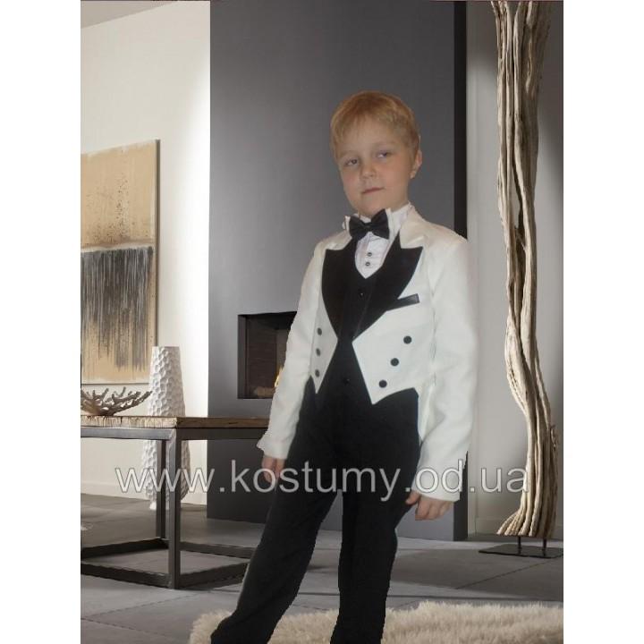 Фрачный костюм, цвет молочный с черным, рост 134, 140 см