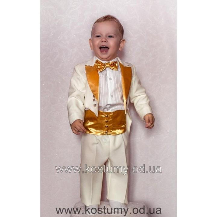 Фрачный костюм белый с золотом, фрачный костюм на годик, фрачный костюм на крестины