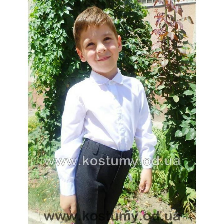 Школьная форма для мальчиков. Школьная рубашка с длинным рукавом. 100% коттон! Отложной ворот. Цвет белый. Р-ры 110-146