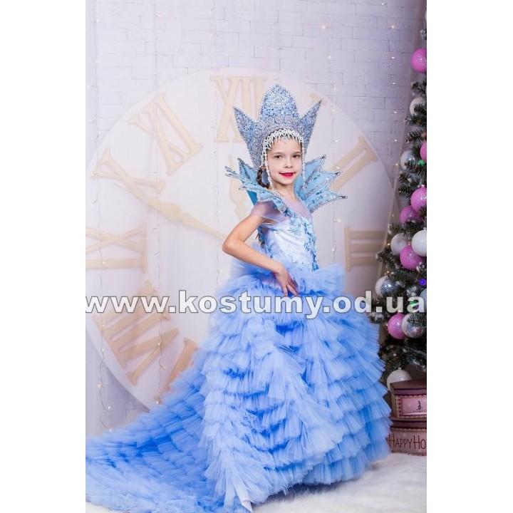 Снежная Королева Шлейфовая, костюм Снежной Королевы, рост 122-140 см