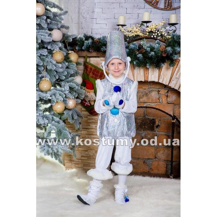 Снеговик Серебряный, Снеговичок, костюм Снеговика, костюм Снеговичка, рост 95-116 см