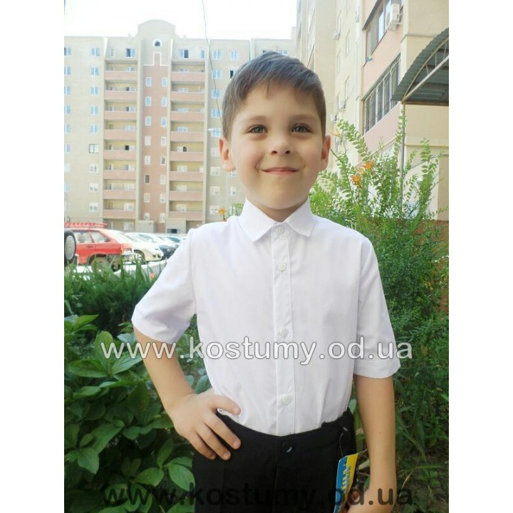 Рубашка Классика короткий рукав, размеры 104, 110, 116, 122, 128, 134, 140 см