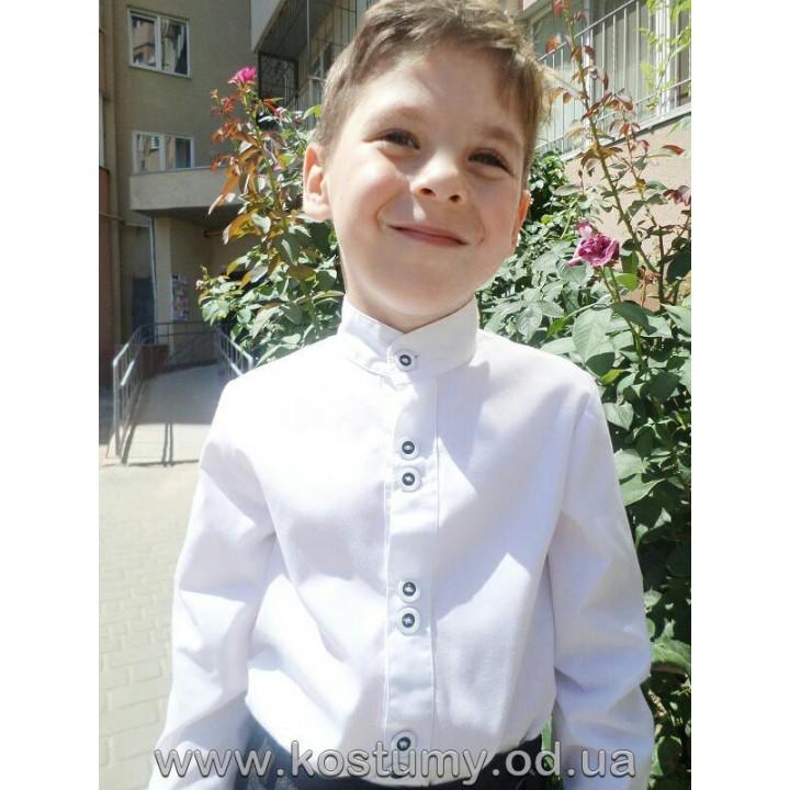 Рубашка для мальчика белая, ворот стойка, длинный рукав, размеры 116, 128