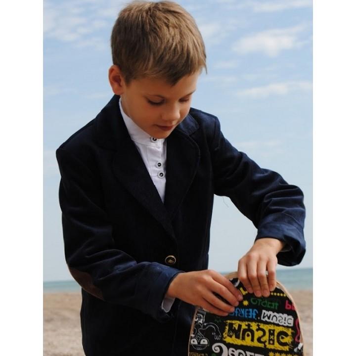 Школьная форма для мальчиков. Стильный школьный пиджак, пиджак с латками. Французский микровельвет. Р-ры 110, 116, 122, 128, 134, 140 см