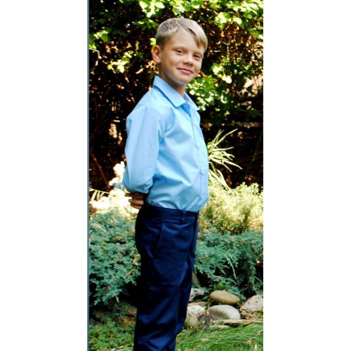 Школьная форма для мальчиков,. Школьная рубашка с длинным рукавом, 100% поплин, цвет ГОЛУБОЙ, р-ры 110, 116, 122, 128, 134, 140, 146