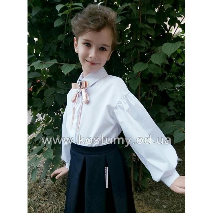 Школьная форма для девочек. Стильная школьная блуза БРОШЬ, модная школьная блузка, коттон 100%, модель со спущенным плечом, брошь съемная, р-ры 116, 122, 128, 134, 140, 146 см