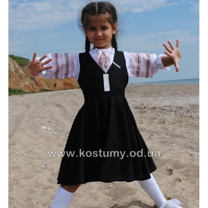 Школьная форма для девочек. Школьный сарафан ткань ЛАКОСТА на запа́х модели ЕВГЕНИЯ. Цвет ЧЕРНЫЙ, р-ры 116, 122, 128, 134, 140, 146 см, модель МАЛОМЕРИТ на размер!
