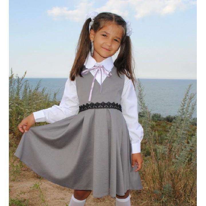 Школьная форма для девочек. Школьный сарафан ткань ЛАКОСТА на запа́х модели ЕВГЕНИЯ. Цвет СЕРЫЙ, р-ры 116, 122, 128, 134, 140, 146 см, модель МАЛОМЕРИТ на размер!
