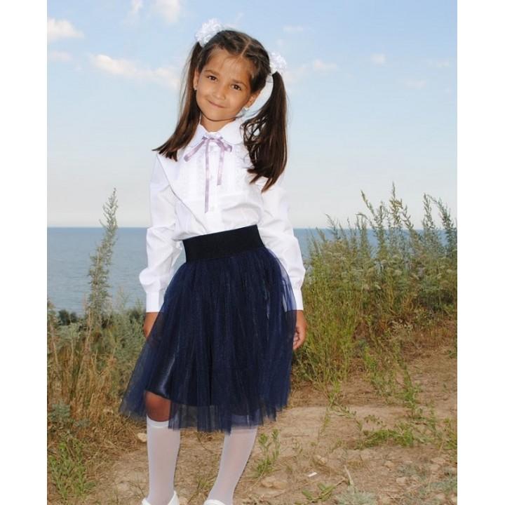 Школьная форма для девочек. Школьная юбка модели АНЖЕЛИКА. Тренд сезона 2018- Евросетка. Цвет ТЕМНО-СИНИЙ, р-ры S (длина 40 см), M (длина 50 см)