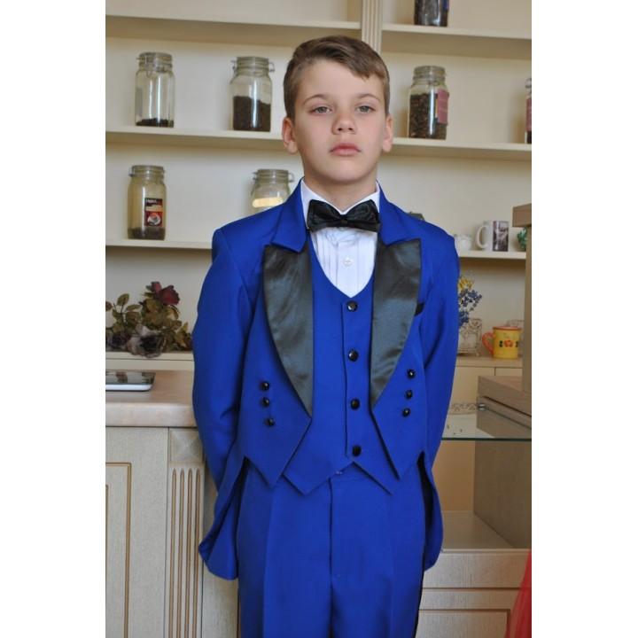 Фрачный костюм, цвет синий с черным, рост 104-110, 116-122, 138-144 см