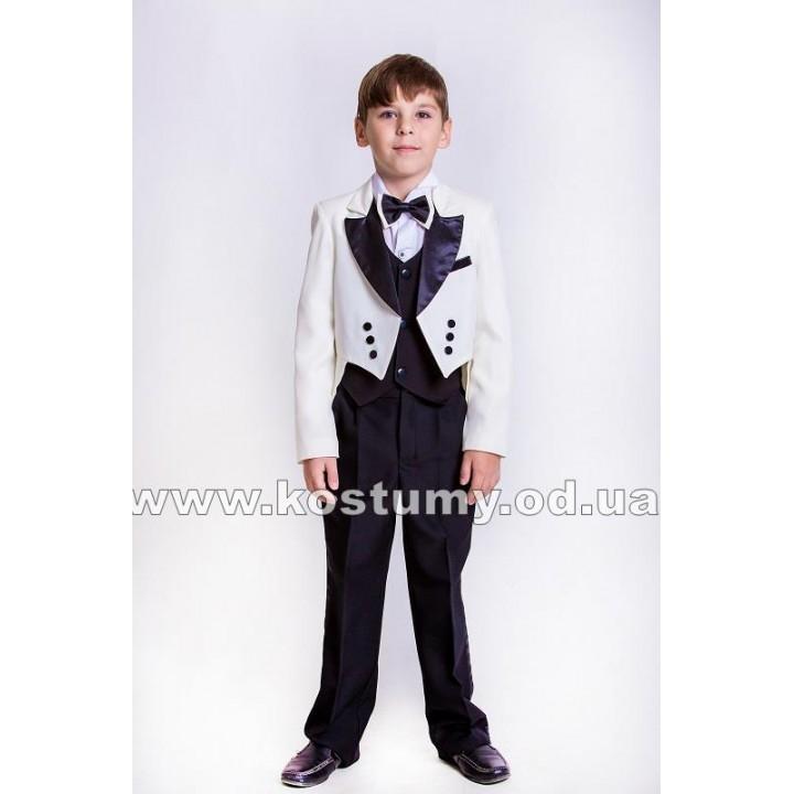 Фрачный костюм, цвет молочный с черным, рост 122, 128 см