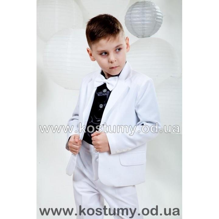 Выпускной костюм в сад, тройка, цвет белый с черной рубашкой