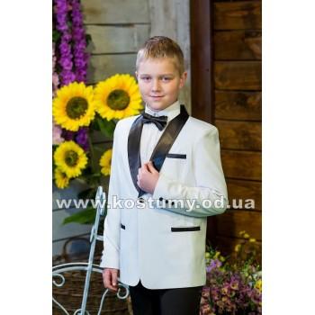Смокинг бело-черный, подростковый смокинг, смокинг на выпускной в 4 классе, р. 140-146 см, 146-152 см