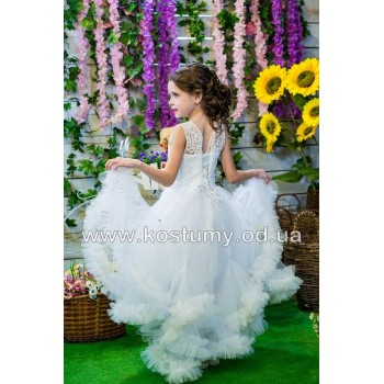 Выпускное платье ЕВА БЕЛОЕ, платье на выпускной в сад, модель ОБЛАКО АССИМЕТРИЯ