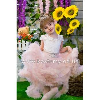 Выпускное платье ЕВА ПУДРА, платье на выпускной в сад, фасон КОРОТКОЕ ОБЛАКО АССИМЕТРИЯ