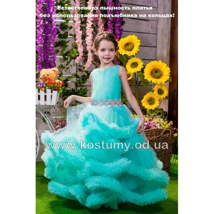 Выпускное платье ОБЛАКО МЯТА, выпускное платье в сад, платье на выпускной в сад