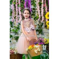 Платье коктейльное ВИРДЖИНИЯ цвет Пудра, платье на выпускной в сад, нарядное детское платье