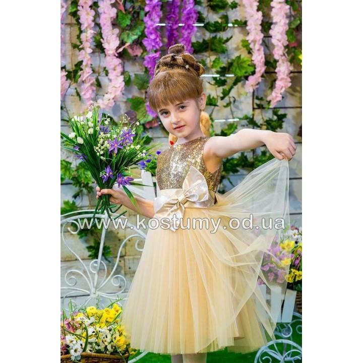 Платье коктейльное ВИРДЖИНИЯ, платье на выпускной в сад, нарядное детское платье, цвет ЗОЛОТО