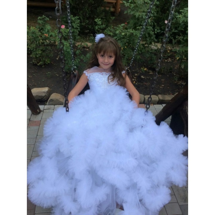 Платье на выпускной в 4 класс, детское платье на свадьбу, новогоднее платье, платье для фотосессий. Модель ОБЛАКО WHITE SNOW, рост 135-150 см